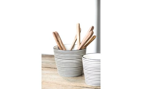 IB LAURSEN Latte cup Casablanca black stripe, černá barva, krémová barva, keramika