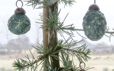 IB LAURSEN Vánoční mini ozdoby Green matt - 10ks, zelená barva, sklo