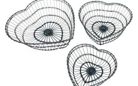 Krasilnikoff Drátěný košík Heart Velikost M, šedá barva, kov