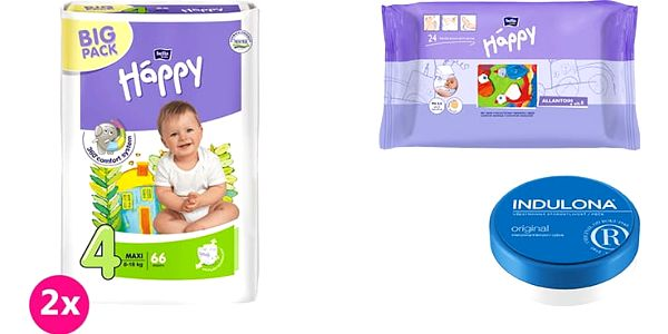 2x BELLA HAPPY Maxi 4 pleny (8 -18kg) 66 ks + Indulona Tělový krém 75 ml + Happy Wipes 24 ks