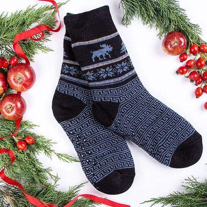 Pánské ponožky s beránkem BLITZEN - černomodrá (vel.39-42)