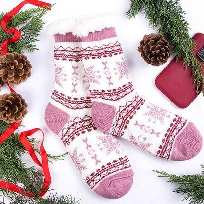 Dámské domácí ponožky GERDA - růžovobílá (vel.39-42)