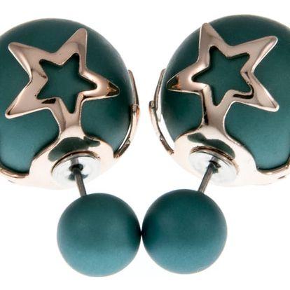 Fashion Icon Náušnice kuličky s hvězdou oboustranné matné