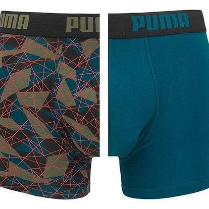 2PACK pánské boxerky Puma hyper camo green blue long XL