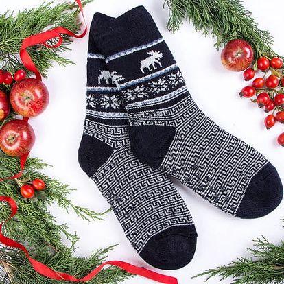 Pánské ponožky s beránkem BLITZEN - modro-bílá (vel.43-46)