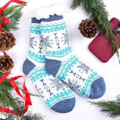 Dámské domácí ponožky GERDA - bílomodrá (vel.39-42)