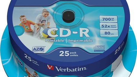 Verbatim CDR 52x 700MB Printable, Spindle, 25ks - 43439