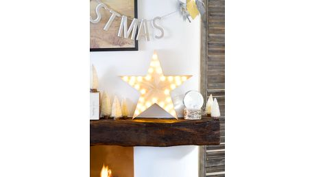 Talking Tables Dřevěná hvězda Nordic Christmas, béžová barva, dřevo, plast