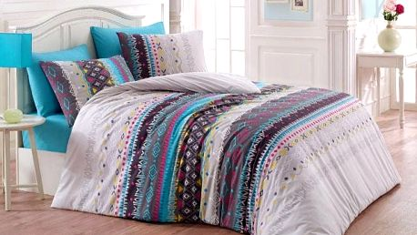Night in Colors Francouzské bavlněné povlečení MELANIE - tyrkysová 200X220, 70x90