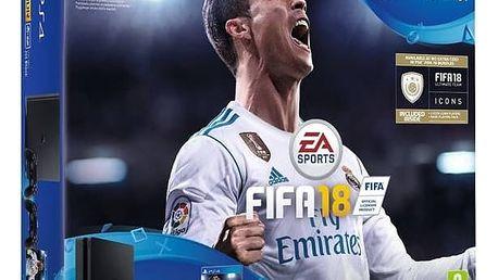 Herní konzole Sony PlayStation 4 SLIM 1TB + DS4 černý + FIFA18 + PS Plus 14 dní (PS719915867) černá + Doprava zdarma