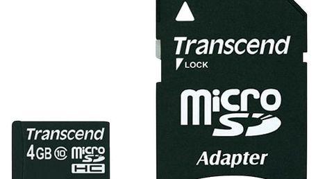 Transcend Micro SDHC 4GB Class 10 + adaptér - TS4GUSDHC10