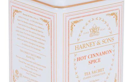 HARNEY & SONS Černý čaj Hot Cinnamon Spice, oranžová barva, bílá barva, kov