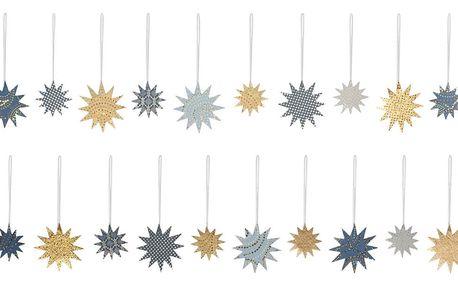 Maileg Vánoční papírové ozdoby Christmas Blue - 24 ks, modrá barva, zlatá barva, papír