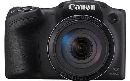 Digitální fotoaparát Canon PowerShot SX430 IS (1790C002) černý Paměťová karta Kingston SDHC 32GB UHS-I U1 (45R/10W) v hodnotě 599 Kč