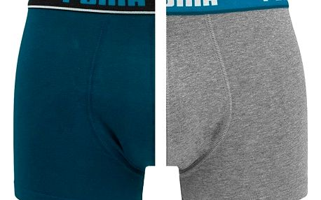 2PACK pánské boxerky Puma sailor blue grey melange long XL