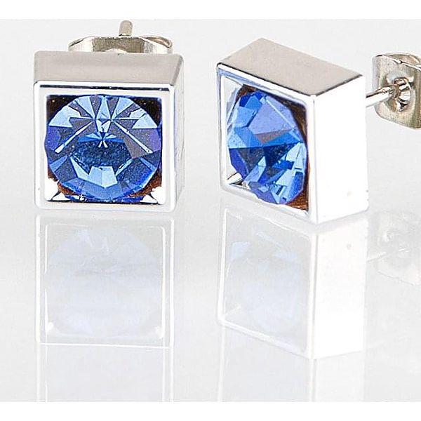 Fashion Icon Náušnice čtverec s krystalky 7mm