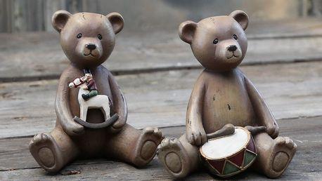 Chic Antique Dekorativní medvídek Drum/horse Bubínek, hnědá barva, pryskyřice