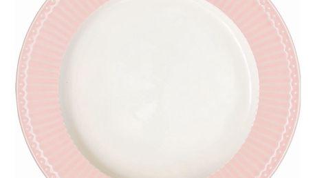 GREEN GATE Obědový talíř Alice pale pink 26 cm, růžová barva, bílá barva, porcelán