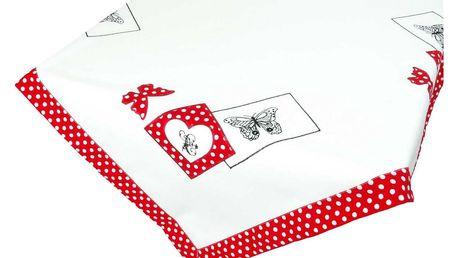 Forbyt Ubrus Motýl na puntíku červená, 85 x 85 cm