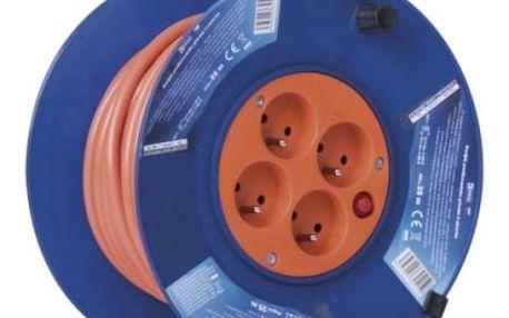 Kabel prodlužovací na bubnu EMOS 4x zásuvka, 25m (1908042501) oranžový
