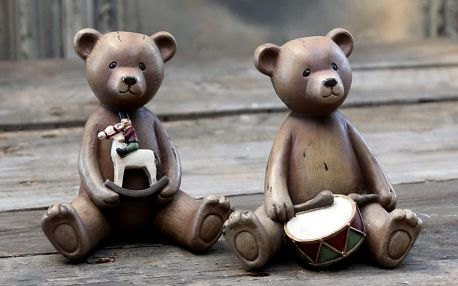 Chic Antique Dekorativní medvídek Drum/horse Koníček, hnědá barva, pryskyřice
