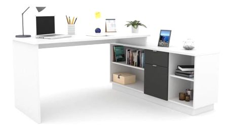 Kancelářský stůl, grafit / bílá, DALTON NEW