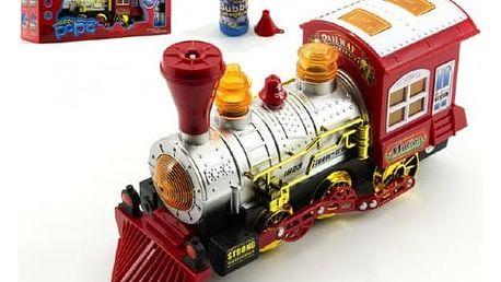 Svítící lokomotiva s bublifukem