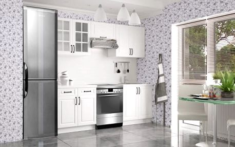 Michelle - Kuchyňský blok, 160/220cm (bílá, bílá, černá úchytka)