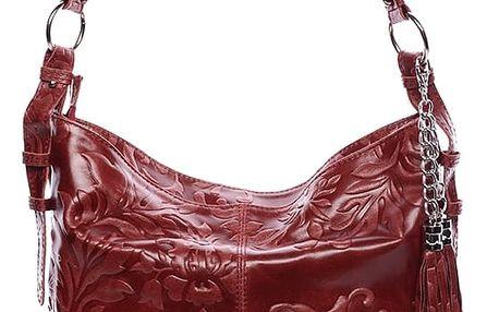 Dámská kožená kabelka přes rameno vínová - ItalY Heather vínová