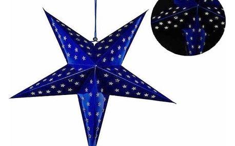 Hvězda 60 cm - 10 LED - modrá - časovač - 18000164