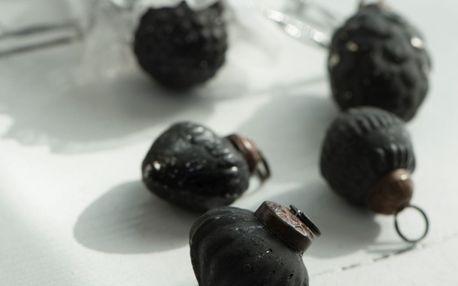 IB LAURSEN Vánoční mini ozdoby Black matt - 10ks, černá barva, sklo