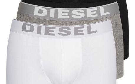 3PACK Boxerky Diesel Black / White / Grey Essential L