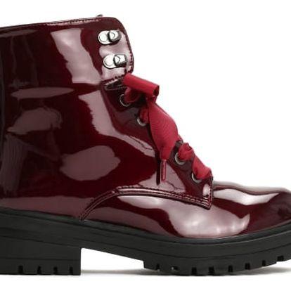 Dámské vínové lesklé kotníkové boty Suzy 8314