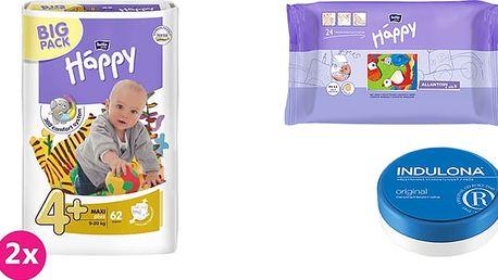 2x BELLA HAPPY Maxi Plus 4+ pleny (9-20 kg) 62 ks + Indulona Tělový krém 75 ml + Happy Wipes 24 ks