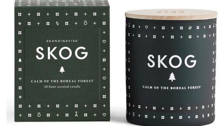 SKANDINAVISK Vonná svíčka SKOG (les) 190 g, zelená barva, bílá barva, sklo