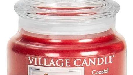 VILLAGE CANDLE Svíčka ve skle Coastal Christmas - malá, červená barva, sklo, vosk