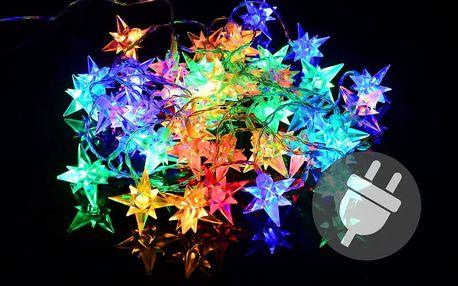 Vánoční LED osvětlení - barevné hvězdy - 40 LED