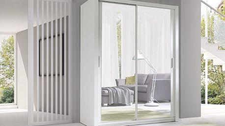 MEBLINE Luxusní šatní skříň s posuvnými dveřmi VISTA 150 bílý mat