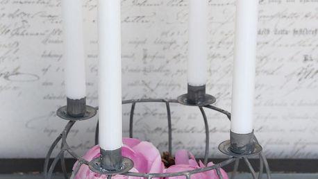 Chic Antique Adventní svícen Zinc, šedá barva, zinek
