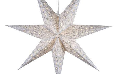 STAR TRADING Závěsná svítící hvězda White/silver 115 cm, bílá barva, stříbrná barva, papír
