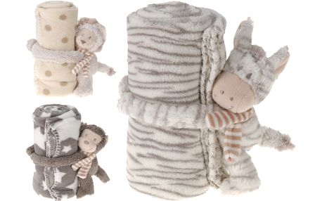 Home collection Fleece dečka s plyšovým zvířátkem 75x100 cm
