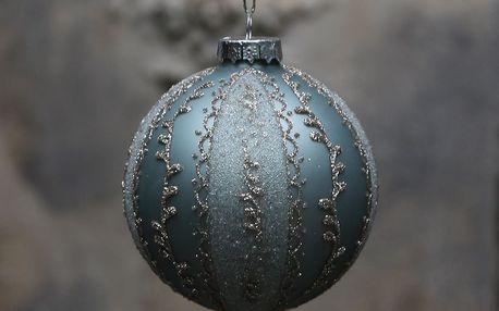 Chic Antique Vánoční baňka Glitter Antique verte, zelená barva, šedá barva, stříbrná barva, sklo