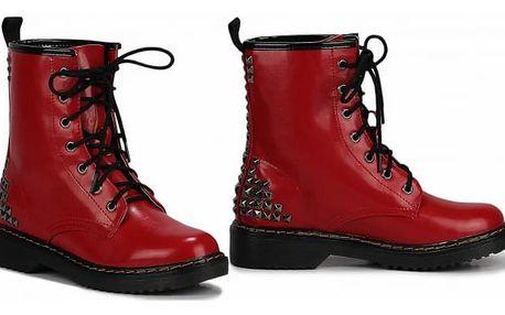 Dámské červené kotníkové boty Punk 113