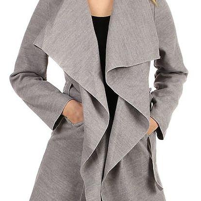 Dlouhý kabát - kardigan s páskem světle šedá