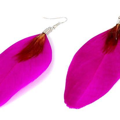 Peříčkové naušnice růžová