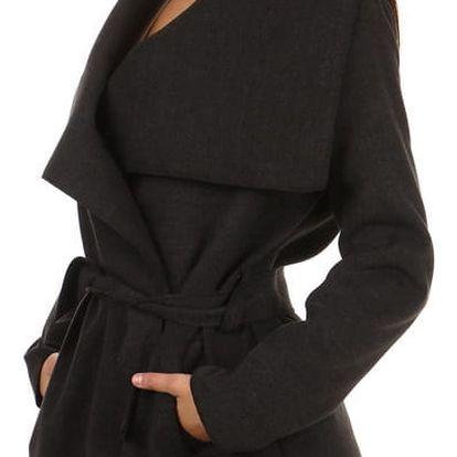 Krátký zavinovací dámský kabát tmavě šedá