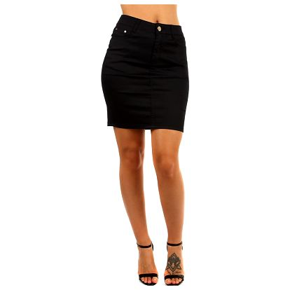 Společenská jednobarevná sukně - i pro plnoštíhlé černá