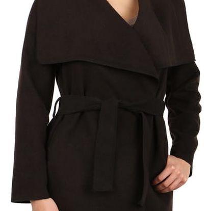 Dlouhý dámský kabát - kardigan s páskem černá