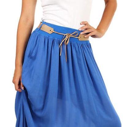 Jednobarevná maxi sukně s kapsami modrá