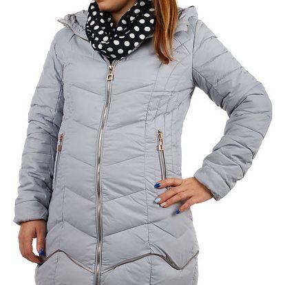 Delší prošívaná bunda s ozdobným zipem světle šedá